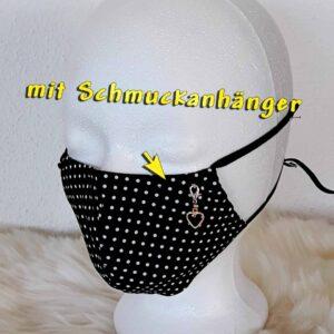 """Elegante GesichtsMaske mit Schmuck-Anhänger / Charm """"Dots-Black-Style"""", mit Nasenbügel, schicke, edle, besondere Gesichtsmaske"""