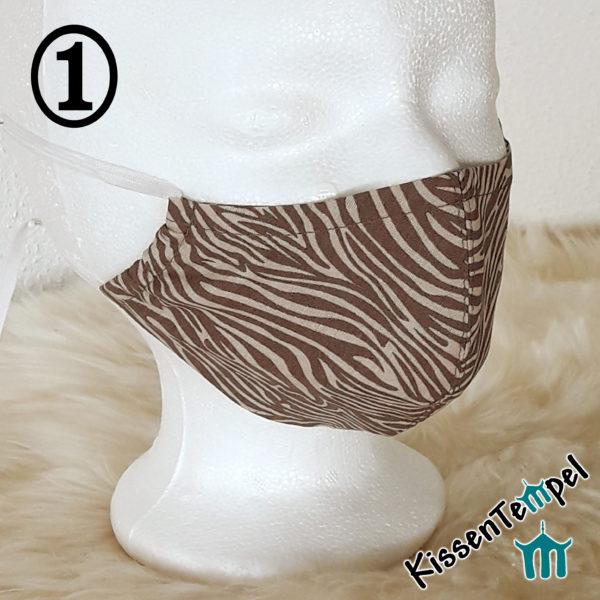 Gesichtsmaske Zebra braun mit Nasenbügel, Herbstfarben, tierisches Muster, Alltagsmaske, Mund- und Nasenmaske