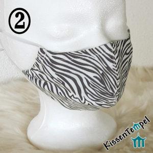 Gesichtsmaske Zebra grau weiß mit Nasenbügel, Herbstfarben, tierisches Muster, Alltagsmaske, Mund- und Nasenmaske