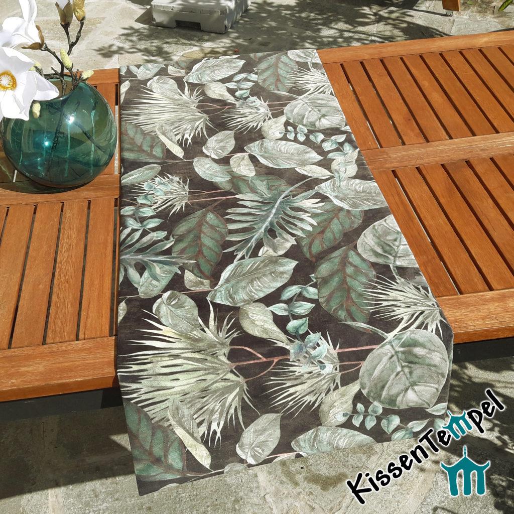 """Tischläufer """"Black Forest"""" 45x138 cm !doppellagig! aus Samt, anthrazit grün-türkis, Motiv Blätter"""