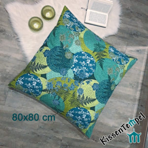 "BodenKissen ""Mandala Petrol"" 80x80 cm KissenHülle, blau, grün, petrol, jade, mint. Asia-Style, Japan, filigrane runde Mandalas"