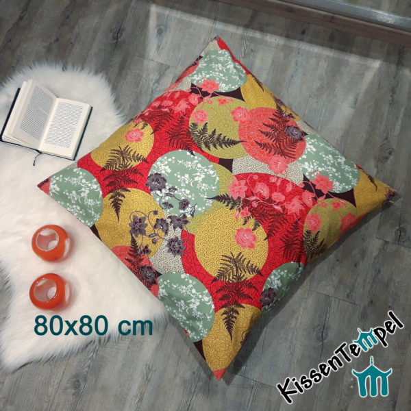 "BodenKissen ""Mandala Indian Summer"" 80x80 cm, KissenHülle, rot/gelb/orange/mint"