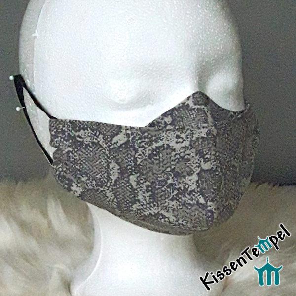 Elegante Tiermuster-Maske >Animal-Print-Elegance< für Brillenträger, Tierdruck Leopard, Zebra-Muster, Schlange, Gesichtsmaske, Animalprint