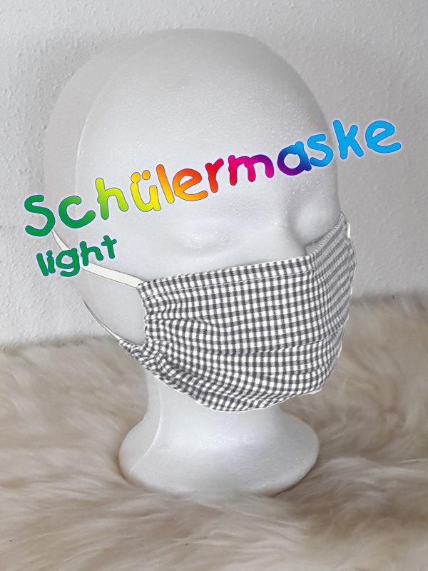 """Schulmaske """"Karo-LIGHT"""" einlagig, sehr atmungsaktive dünne Schülermaske, Alltagsmaske / Gesichtsmaske für Schüler, Kinder, Mädchen und Jungen, neudeutsch: MuNaske."""