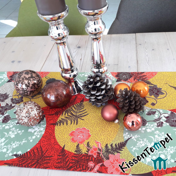 """Tischläufer Mitteldecke für Weihnachten """"Mandala"""", Weihnachtsdekoration, rot, orange, gelb, mint"""