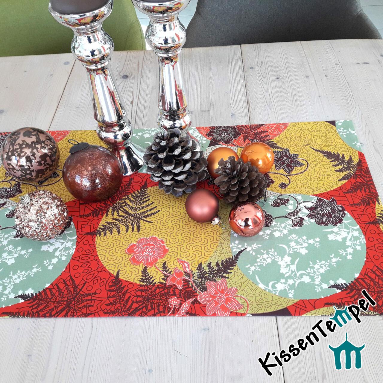 Weihnachtlicher Tischläufer Mitteldecke für Weihnachten, Weihnachtsdekoration, rot, orange, gelb, mint
