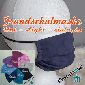 Einlagige sehr atmungsaktive waschbare GrundschulMaske, Maske für Grundschüler und Kinder ca. 5 – 10 Jahre, für Unterricht und Sport