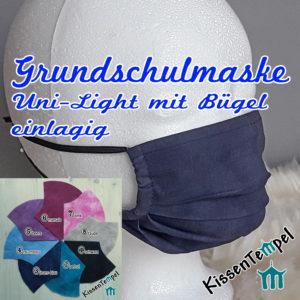 Einlagige waschbare sehr atmungsaktive GrundschulGesichtsmaske mit Nasenbügel, MundNasenMaske für Grundschüler & Kinder ca. 5 – 10 Jahre.