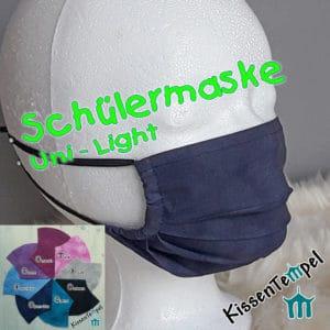 Sehr atmungsaktive SchülerMaske versch.Farben, einlagig, Behelfsmaske, Gesichtsmaske für Schüler und Teenager