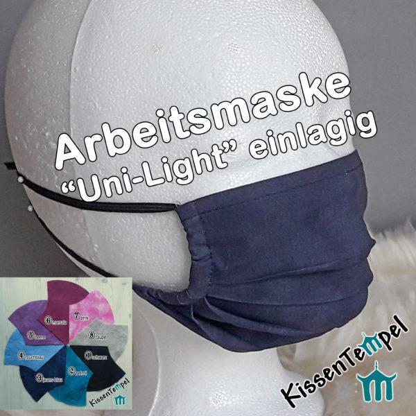 """Atmungsaktive ArbeitsMaske """"Uni-LIGHT"""" einlagig, opt. mit Nasenbügel, luftdurchlässig, Maske für Sport Arbeit, Werkstatt, Büro, Handwerk"""