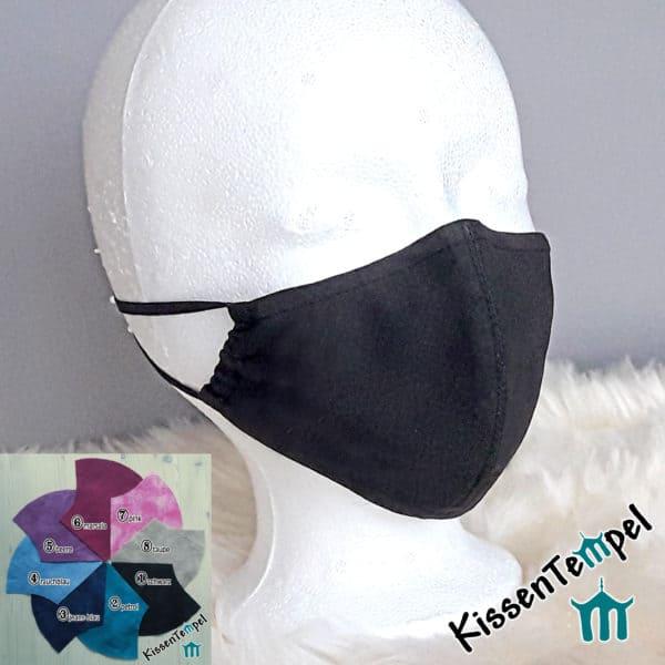 """Atmungsaktive Gesichtsmaske """"Uni-Style"""" mit Nasenbügel, versch.Farben, MundNasenMaske"""