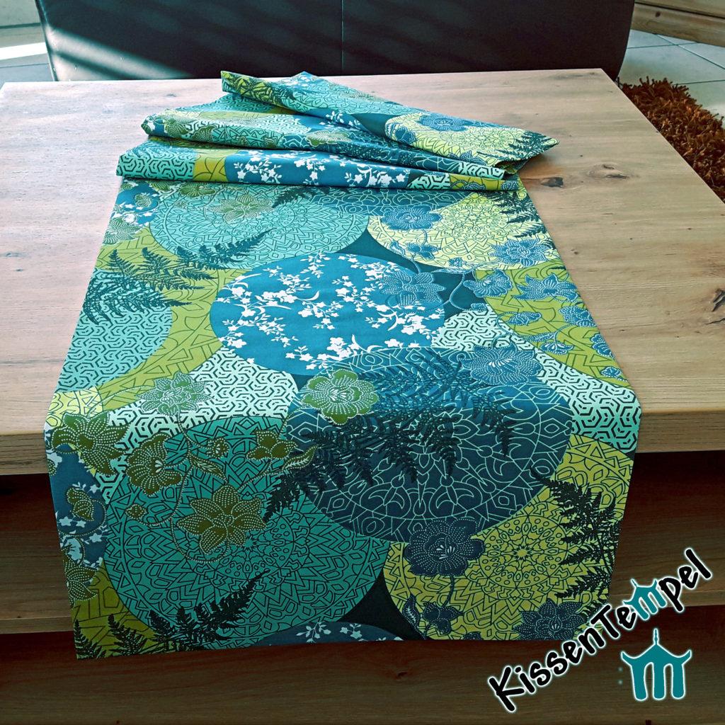 Tischläufer Mitteldecke >Mandala Petrol< blau, grün, petrol, jade, mint. Asia-Style, Japan, filigrane runde Mandalas