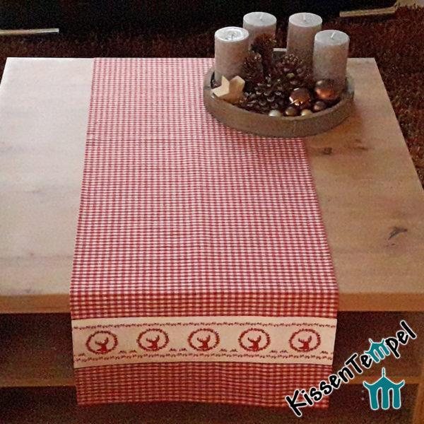 Tischläufer >Sepp< Tischdecke Karo rot-weiß kariert Landhausstil Chaletstil bayerisch rustikal ► doppellagig !