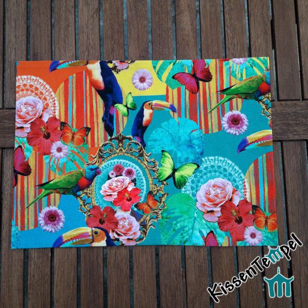 Tischset Platzset, türkis orange gelb grün blau, Blüten bunte Toucans Hibiskus Schmetterlinge Blätter