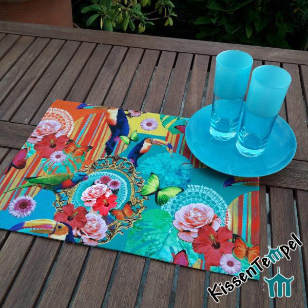 Tischset, Platzset, türkis orange gelb grün blau, Blüten bunte Toucans Hibiskus Schmetterlinge Blätter