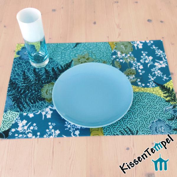 Tischset >Mandala Petrol< Platzset !doppellagig, blau, grün, petrol, jade, mint. Asia-Style, Japan, filigrane runde Mandalas