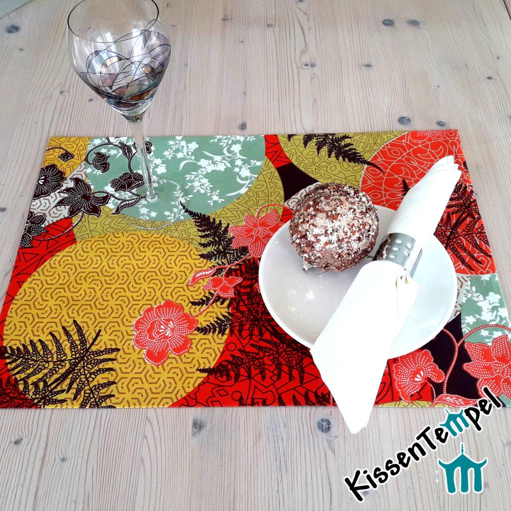 Tischset >Mandala Indian Summer< Platzset * Asia-Style Japan Weihnachten Advent Weihnachtsdeko Tischdeko rot orange gelb mint