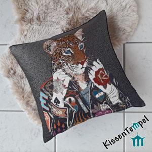 """Designer-Kissen >Crazy Leo< 45x45cm 18x18"""" Leopard, Animal Print, Tierdruck. Künstlerisches modernes Design"""