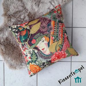 Elegantes Luxus-Kissen >Lady Lia< Frau mit Hut, Dame, beige pink altrosa brombeere orange grün