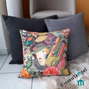 Elegantes Luxus-Kissen Lady Lia 40x40 | 50x50, Frau mit Hut, Dame, beige pink altrosa brombeere orange grün
