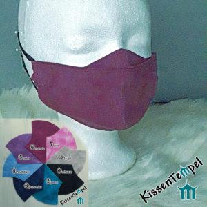 Elegante Gesichtsmaske >Uni-Elegance< für Brillenträger ohne Nasenbügel, schwarz blau rot pink Alltagsmaske