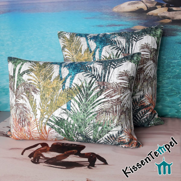 SommerKissen >Colored Palms< 40x60 | 50x50 | 60x60 cm, Kissenbezug mit bunten Palmblättern in blau türkis grün orange gelb braun grau