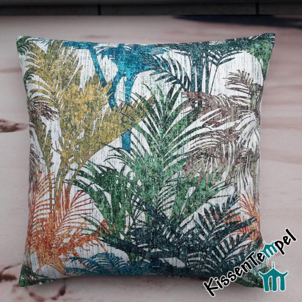 SommerKissen >Colored Palms< 50x50 60x60 mit bunten Palmblättern in blau türkis grün orange gelb braun grau
