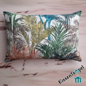 SommerKissen >Colored Palms< 40x60 mit bunten Palmblättern in blau türkis grün orange gelb braun grau