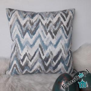 DekoKissen >ZickZack grau< 50x50 cm, Kissenbezug Kissenhülle, grau eisblau petrol bleu, zarte Pastelltöne, ZickZack-Muster, elegant