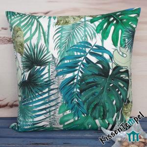 Outdoor Kissen >Jungle Feeling< UV-beständig, Wasser- und schmutzabweisend, grün türkis petrol, Dschungel, Sommer