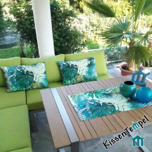 Outdoor Kissen & Tischläufer >Jungle Feeling< UV-beständig, wasser- und schmutzabweisend, grün türkis petrol, Dschungel, Sommer