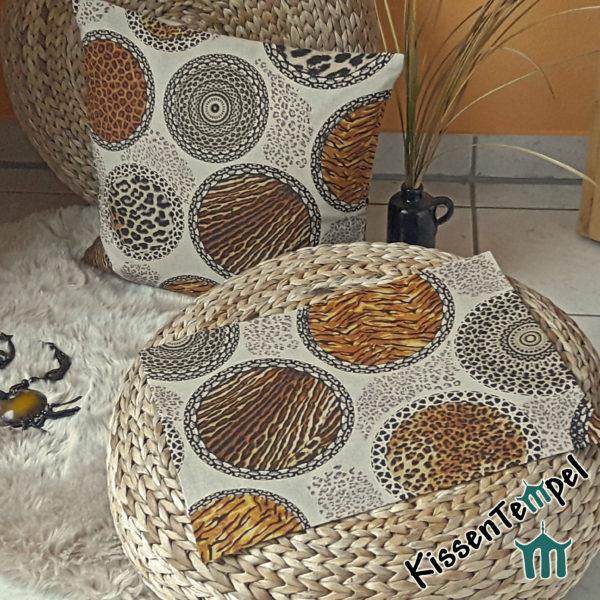 Tischset und Kissen >Mandala Africa< beige schwarz grau braun * Afrika meets Asia