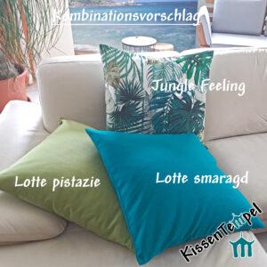 Kissen-Kombination Lotte pistazie smaragd grün blau türkis Jungle Monsterablätter
