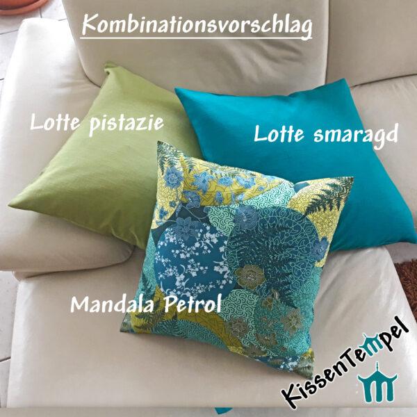 Kissen-Kombination Leinenkissen pistazie smaragd grün blau türkis Mandala Petrol