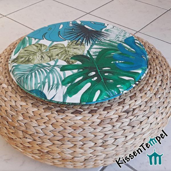 Outdoor SitzKissen >Jungle Feeling rund< UV-beständig, Wasser- und schmutzabweisend, grün türkis petrol, Dschungel