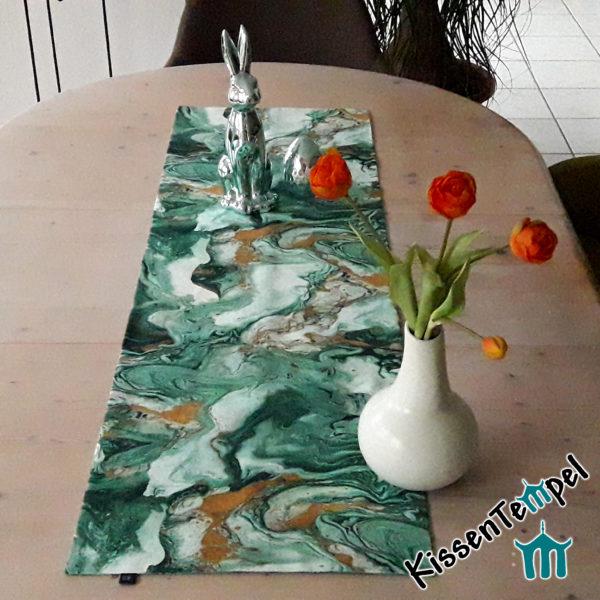 Tischläufer >Green Marmor< grün, marmoriert, Marmor-Design, OsterDekoration, Aquarell