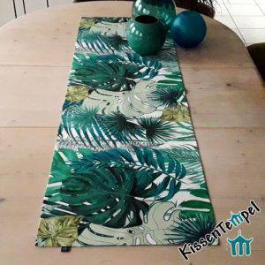 Outdoor Tischläufer >Jungle Feeling< UV-beständig, Wasser- und schmutzabweisend für Terrasse / Balkon, grün türkis petrol