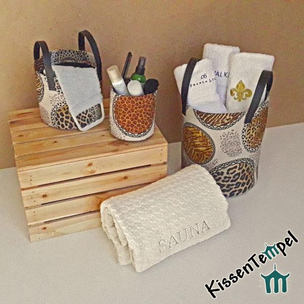 Aufbewahrungskorb | Stoff-Utensilo für Handtücher oder Wellnessprodukte in Bad / Sauna