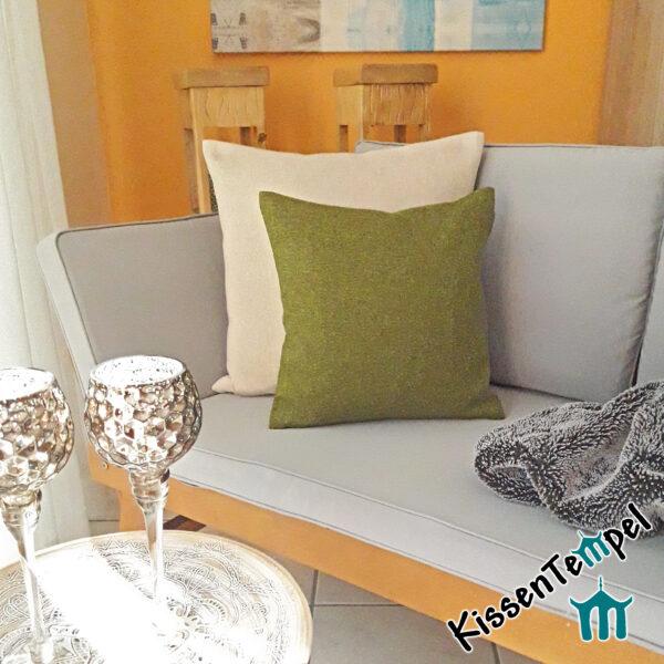 """DekoKissen """"Franz"""" beige / grün, KissenBezug im alpenländischen Landhausstil FilzKissen 40x40   50x50   60x60   80x80 cm, Kissenhülle"""