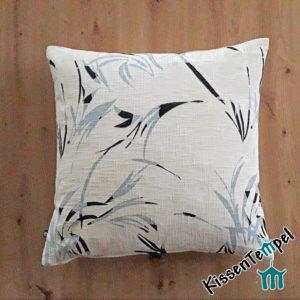DekoKissen >White Bamboo< Kissenbezug * Motiv: Bambus-Zweige, asiatisch, weiß, ecru, rauchblau