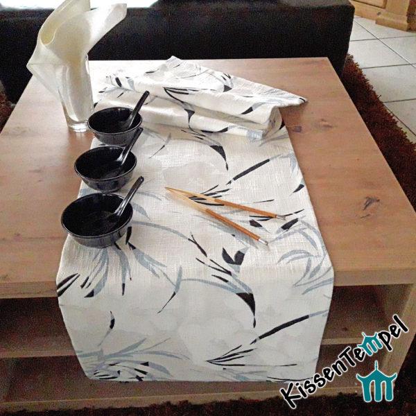 Tischläufer >White Bamboo< MittelDecke, TischDecke, Motiv: Bambus, asiatisch, weiß, ecru, rauchblau, doppellagig