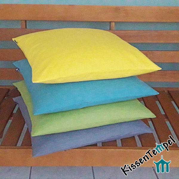 """LeinenKissen """"Lotte"""" grün grau gelb curry bleu blau creme rosa braun taupe"""