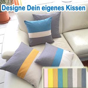 LeinenKissen >Wunsch-Lotte< wähle alle Farben Deines WunschKissens, aus 100% Leinen, Streifenkissen