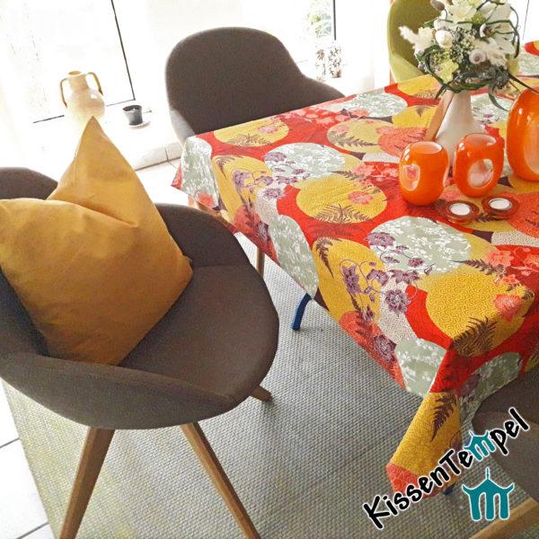 Baumwoll-Tischdecke >Mandala Indian Summer< rot orange gelb mint, Asia-Style