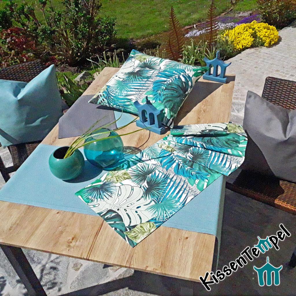 Outdoor-Serie Kissen, Tischläufer, Tischsets, Monstera, türkis, mint, grün, blau, grau