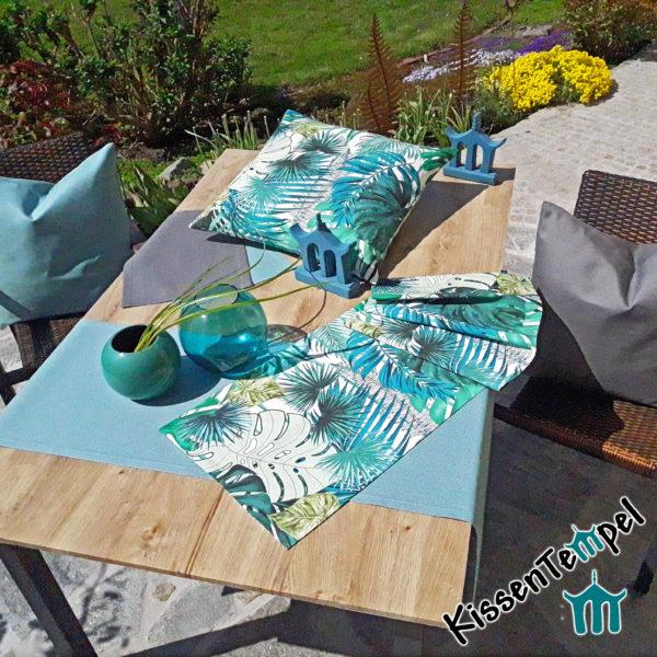 Outdoor-Serie Kissen, Tischläufer, Tischsets, türkis, mint, grün, blau, grau