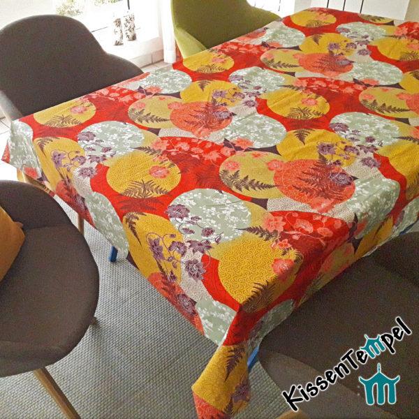 Baumwoll-Tischdecke >Mandala Indian Summer< rot orange gelb mint, asiatisch