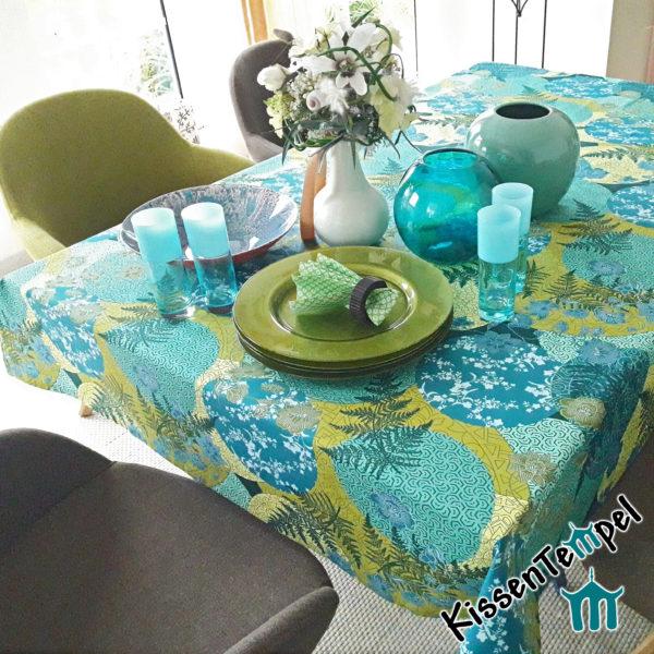 Baumwoll-Tischdecke >Mandala Petrol< blau türkis grün petrol, asiatisch