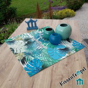 Outdoor Mitteldecke >Jungle Feeling< UV-beständig, grün, türkis, petrol, mint, creme, MonsteraBlätter und Palmen