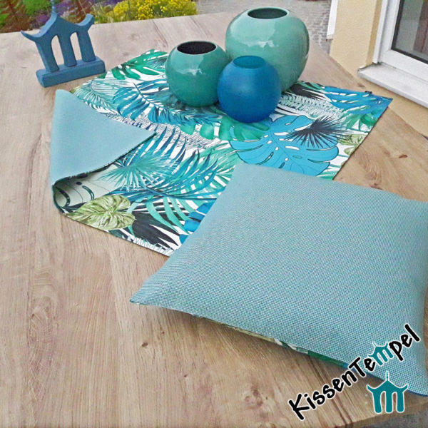 Outdoor Tischläufer / Mitteldecke >Jungle-Nizza< UV-beständig, Wasser- und schmutzabweisend, witterungsbeständig, mint